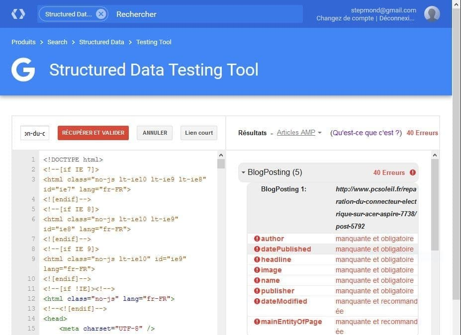 erreurs validation structured data AMP