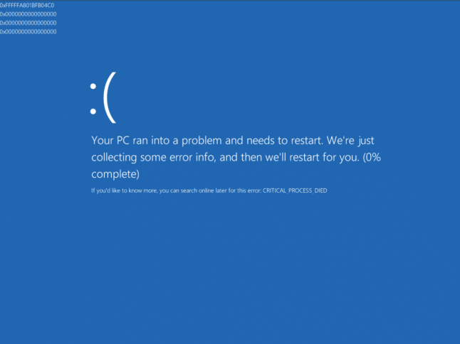 bsod critical process died