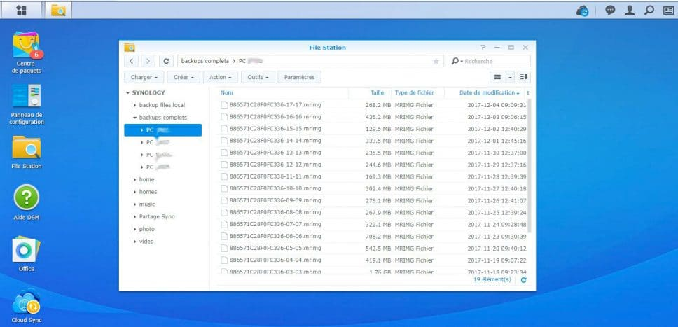 Synology NAS vue dossier contenant backups macrium reflect
