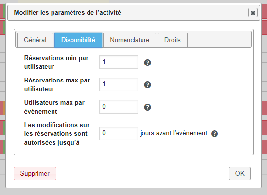 Réglages Booking Activity WordPress 1