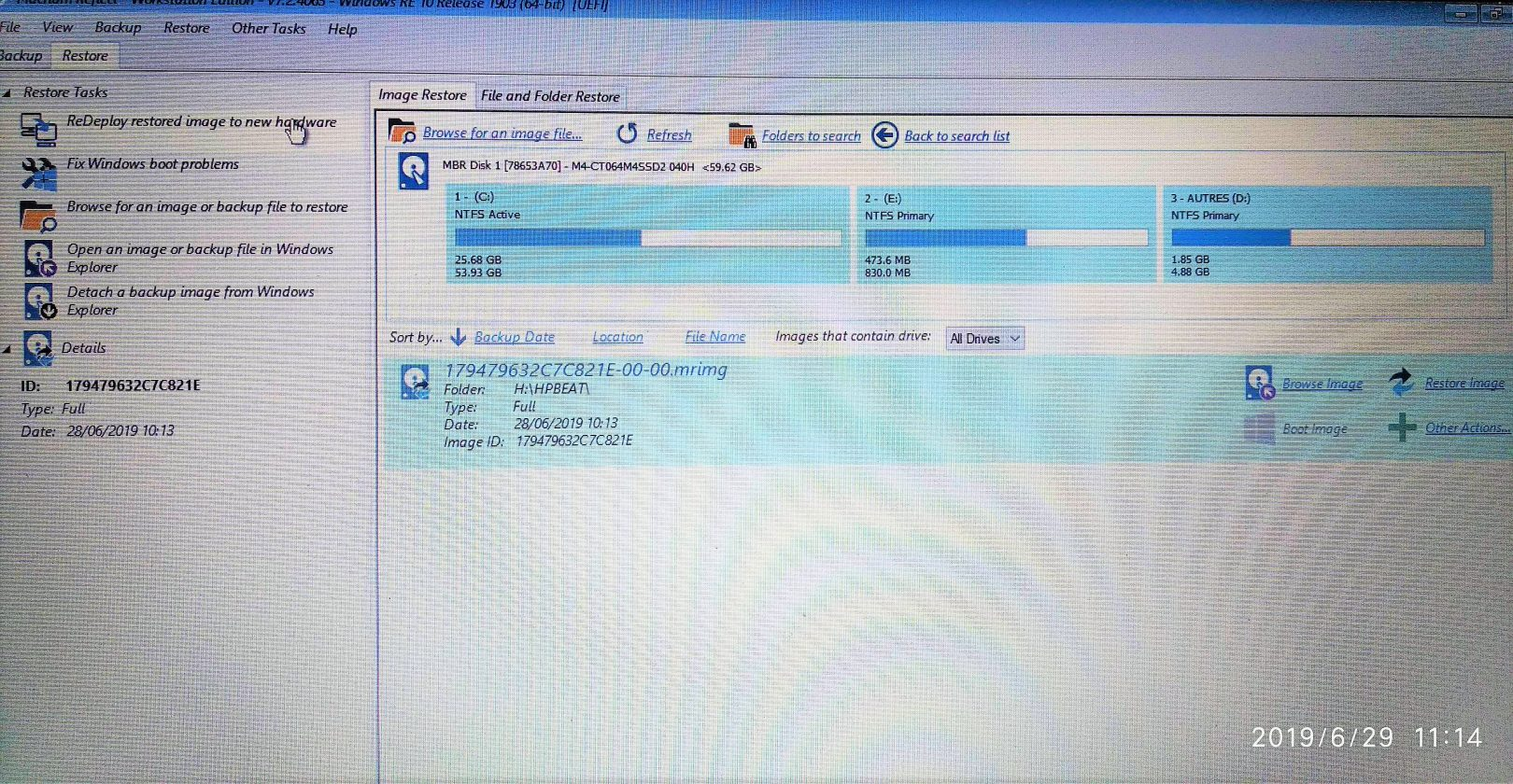 Macrium interface support amorcable